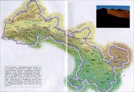 China Topographic Map by Gansu Travel Map Gansu Location Map Gansu Attraction Map