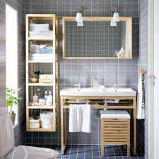 Bathroom Shelving Ideas by Built In Bathroom Shelving Ideas Cool Grey Wood Grain Tiles Wall