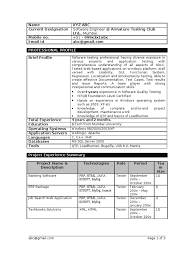 Sample Resume Of Manual Tester by Manual Testing 1 Year Experience Resume Resume For Your Job