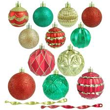 home accents holiday red green and gold shatterproof christmas