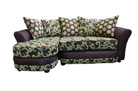 Floral Couches Purple Floral Pattern Vinyl Couch With Panel Armrest And Polkadot