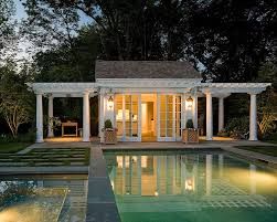 25 pool houses to complete your dream backyard retreat twin pergolas add elegance to the classic pool house design merrimack design architects