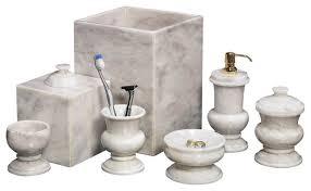 White Bathroom Accessories Set by Marble 7 Piece Bath Set Alabaster White Traditional Bathroom