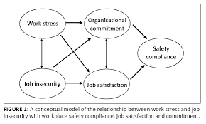 FIGURE    A conceptual model of the relationship between work stress and job insecurity with workplace safety compliance  job satisfaction and commitment