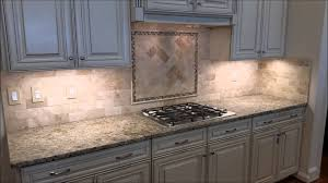Kitchen Backsplash Samples Kitchen Travertine Backsplash With Herringbone Inlay Youtube