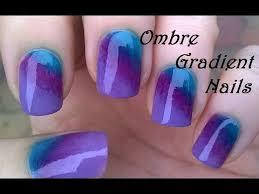 ombre gradient nails diy purple u0026 green sponge nail art youtube