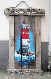 peinture de bord de mer phare pierres noires bretagne finistère bois flotté acrylique