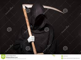 death reaper over black background halloween stock photo image