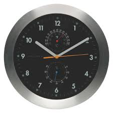 weather black wall clock with thermometer buy now at habitat uk