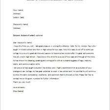 Sample Reference Recommendation Letter For Student From Teacher     Cover Letter Templates