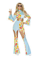Flower Power Halloween Costume Women U0027s Flower Power Hippie Bell Bottom Pants Retro 80 U0027s Costume