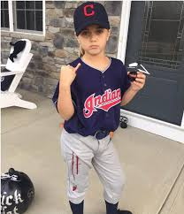 Halloween Baseball Costume Indians Fans Dressed Bloody Fingered Drone Carrying Trevor