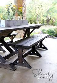 Building Plans For Picnic Table Bench by Best 25 Table Bench Ideas On Pinterest Farmhouse Outdoor