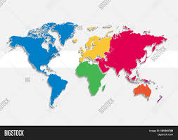 Colored World Map by World Map Continents Colors Raster Individual Separate
