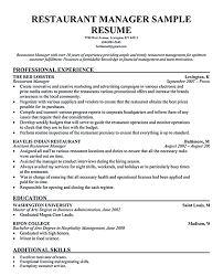 Best Resume For Hotel Management by Restaurant Manager Resume Resume Example