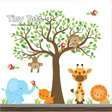 Tree Decal For Nursery Wall by Amazon Com Jungle Wall Decals Animal Decals Elephant Lion