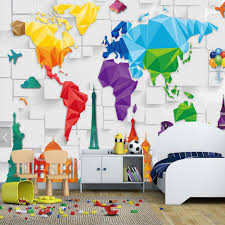 Kids World Map Aliexpress Com Buy Kids Bedroom Wallpaper Colorful World Map