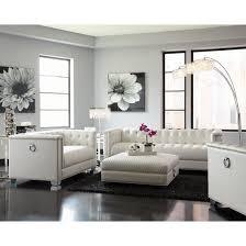 tufted sofa chaviano tufted sofa set in pearl white