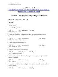Human Anatomy And Physiology Marieb 9th Edition Quizzes Test Bank For Anatomy And Physiology 8th Edition By Patton