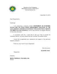 Validation Letter for Thesis  Republic of the PhilippinesMINDANAO STATE UNIVERSITYGeneral Santos CityDecember         Dear Respondents Greetings  SlideShare