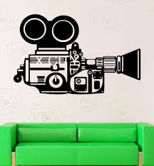 Home Movie Theater Wall Decor Movie Camera Film Reel Home Cinema Vintage Theatre Vinyl Wall Art