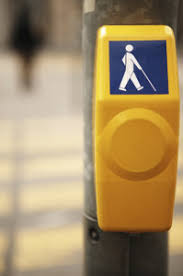 Crosswalk box  showing a blind person with a cane  Center for Parent Information and Resources