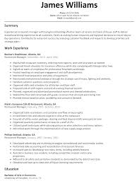 Resume Sample For Human Resource Position by Restaurant Manager Resume Sample Resumelift Com