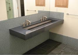 eye catching grey marble commercial trough sink with double