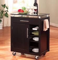 kitchen small movable kitchen island cart with drawer and cutlery