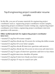 Construction Project Coordinator Resume Sample by Top8engineeringprojectcoordinatorresumesamples 150606093905 Lva1 App6892 Thumbnail 4 Jpg Cb U003d1433583646