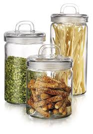 Glass Kitchen Canisters Airtight by Amazon Com Anchor Hocking Square Glass Canisters With Stainless