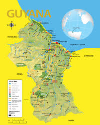 South America Map And Capitals by Guyana Road Map Showing All The Major Roads With Capital City And