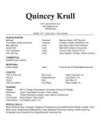 Actor Resume Commercial Resume U2013 Quincey Krull