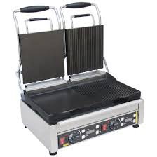 buffalo double contact grill half flat l555 buy online at nisbets