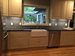 interior ice grey brick glass kitchen backsplash subway tile