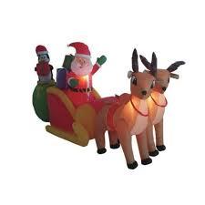 Christmas Yard Decoration Images Amazon Com 8 5 U0027 Airblown Inflatable Santa On Sleigh W Reindeer