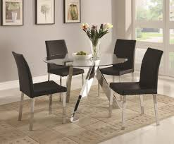 dining room contemporary glass top dining table with chrome base