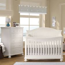White Convertable Crib by Sorelle Finley 2 Piece Nursery Set Crib And 6 Drawer Dresser