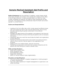 Executive Assistant Job Resume by Medical Administrative Assistant Job Description For Resume Free