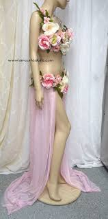 Jungle Forest Tiger Monokini Bra Cosplay Dance Costume Rave Bra Two Piece Petal Pink Rose Fairy Gown With Train Costume Cosplay
