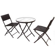 Patio Furniture Set 3 Pcs Bistro Folding Table Chair Set Outdoor Furniture Sets
