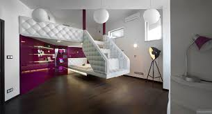Split Level Home Designs Split Level Plush Futuristic Retro Bedroom In White And Patent