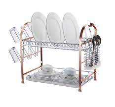 Plastic Dish Drying Rack Furniture Home Copper Tier Sakura Dish Drainer Modern New 2017