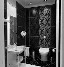 impressive small bathroom design for shower room with black mosaic awesome small bathroom design with black floral tile wall and rectangle white sink decor idea