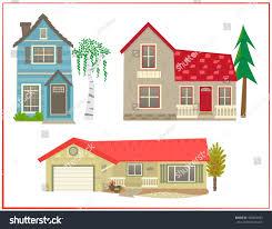 cute houses cartoon set three different stock vector 400364653