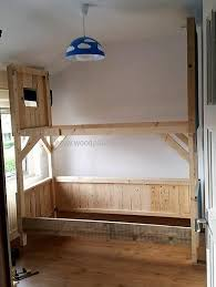 Wood Bunk Beds Plans by Stylish Tree House Bunk Bed Plans And Diy Wood Pallets Tree House