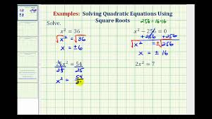 solving quadratic equations by using square roots lessons tes