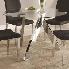 dining room glass round dining table on top with metal legs and