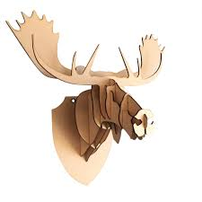 large small wooden moose head 3d wall art home decor 3d laser