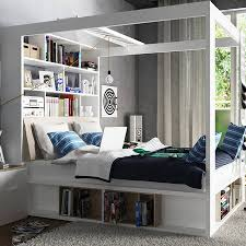 four poster king bed with storage and shelves in white by